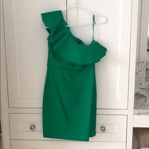 JCrew Ladies Green One Shoulder Dress